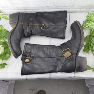 Fiorentini + Baker Black leather biker boots